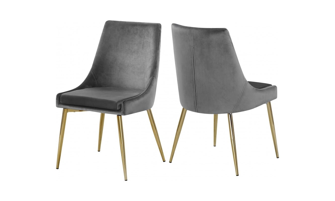 Karina Grey Gold Velvet Dining Chairs Set Of 2 By Meridian Furniture