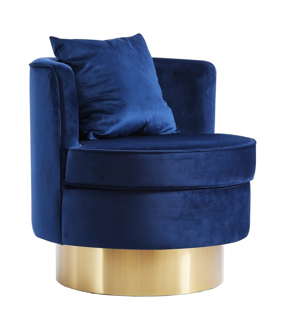 Kendra Navy Blue Velvet Accent Chair By Meridian Furniture