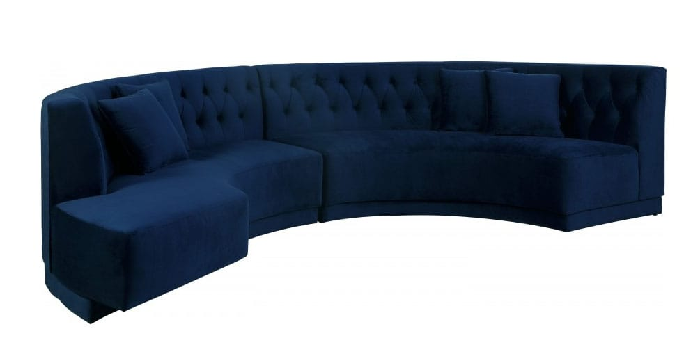 Kenzi Navy Blue Velvet Two Piece Sectional Sofa by Meridian Furniture