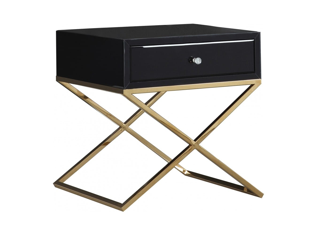 Lynn Black Gold Stainless Steel Side Table By Meridian Furniture