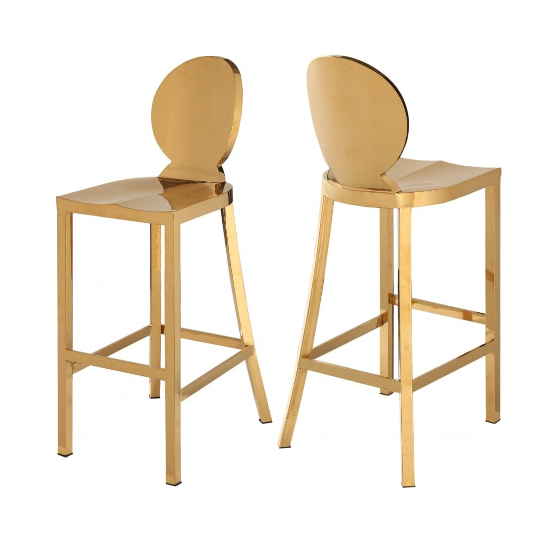 Terrific Maddox Gold Stainless Steel Bar Stool Set Of 2 By Meridian Furniture Caraccident5 Cool Chair Designs And Ideas Caraccident5Info