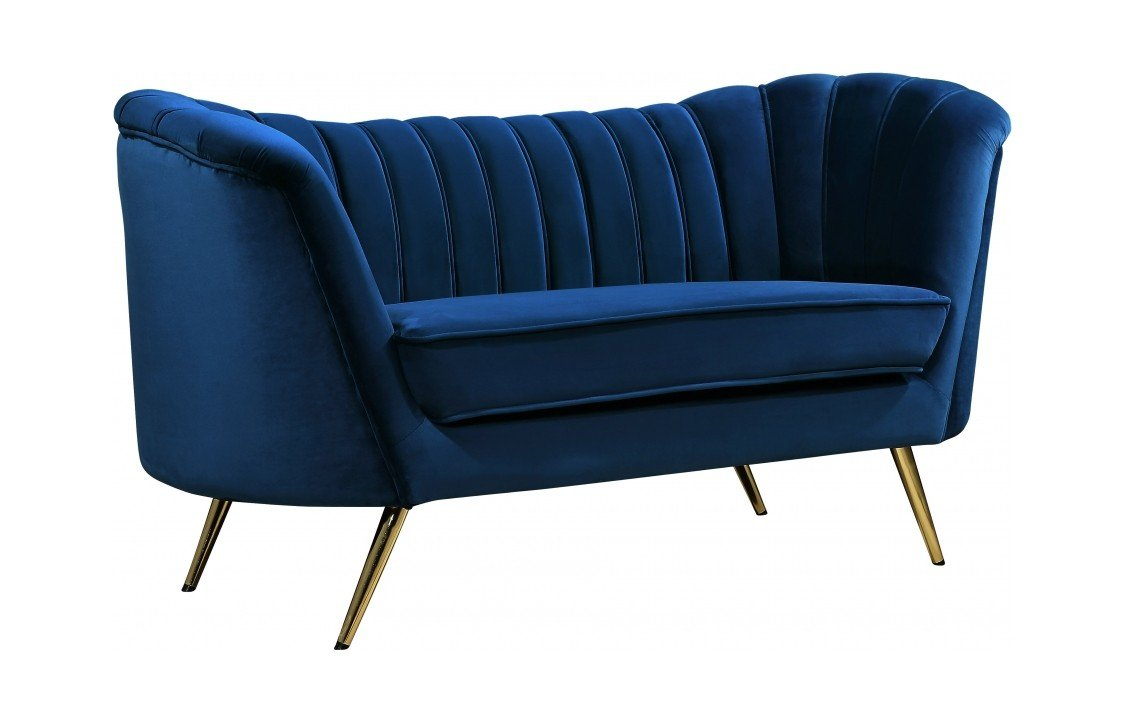 Sensational Margo Navy Blue Velvet Loveseat By Meridian Furniture Onthecornerstone Fun Painted Chair Ideas Images Onthecornerstoneorg