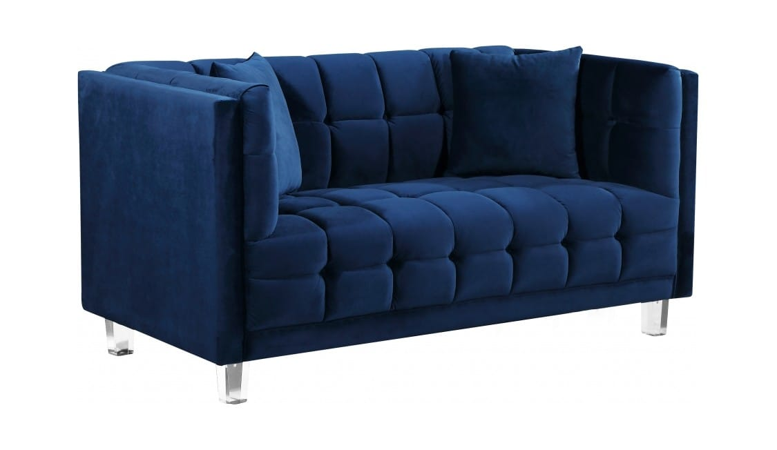 Surprising Mariel Navy Blue Velvet Loveseat By Meridian Furniture Andrewgaddart Wooden Chair Designs For Living Room Andrewgaddartcom