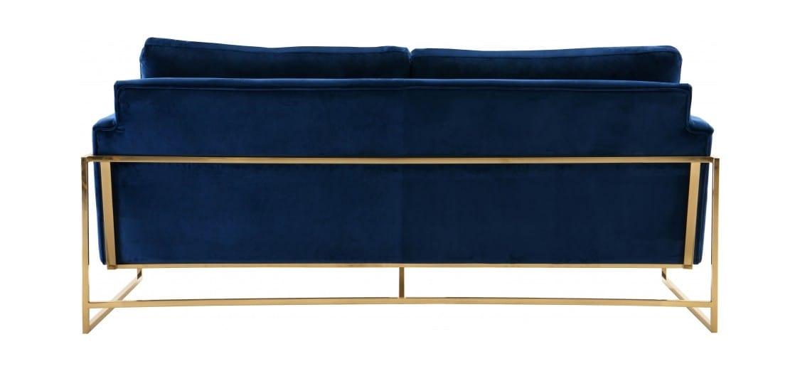Mila Navy Blue Velvet Sofa by Meridian Furniture