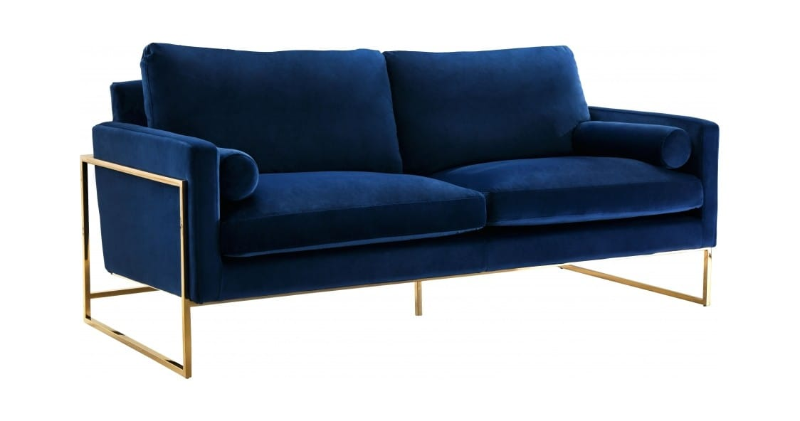Mila Navy Blue Velvet Sofa by Meridian Furniture