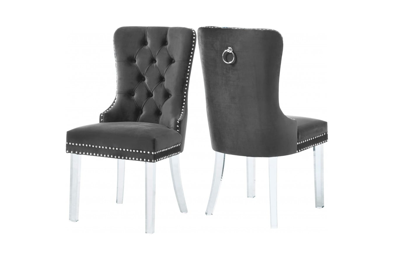 Miley Grey Velvet Dining Chairs W