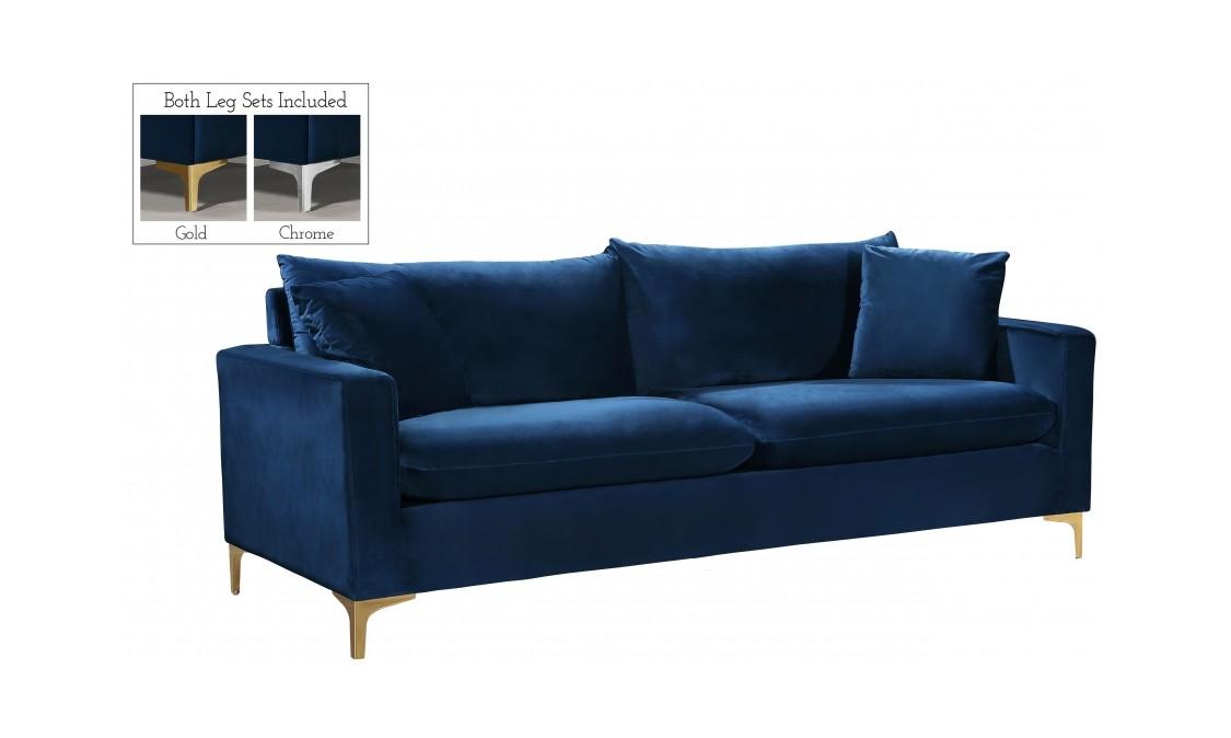 Navy Blue Velvet Sofa By Meridian Furniture