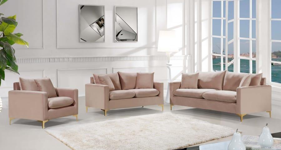 Naomi Pink Velvet Sofa by Meridian Furniture