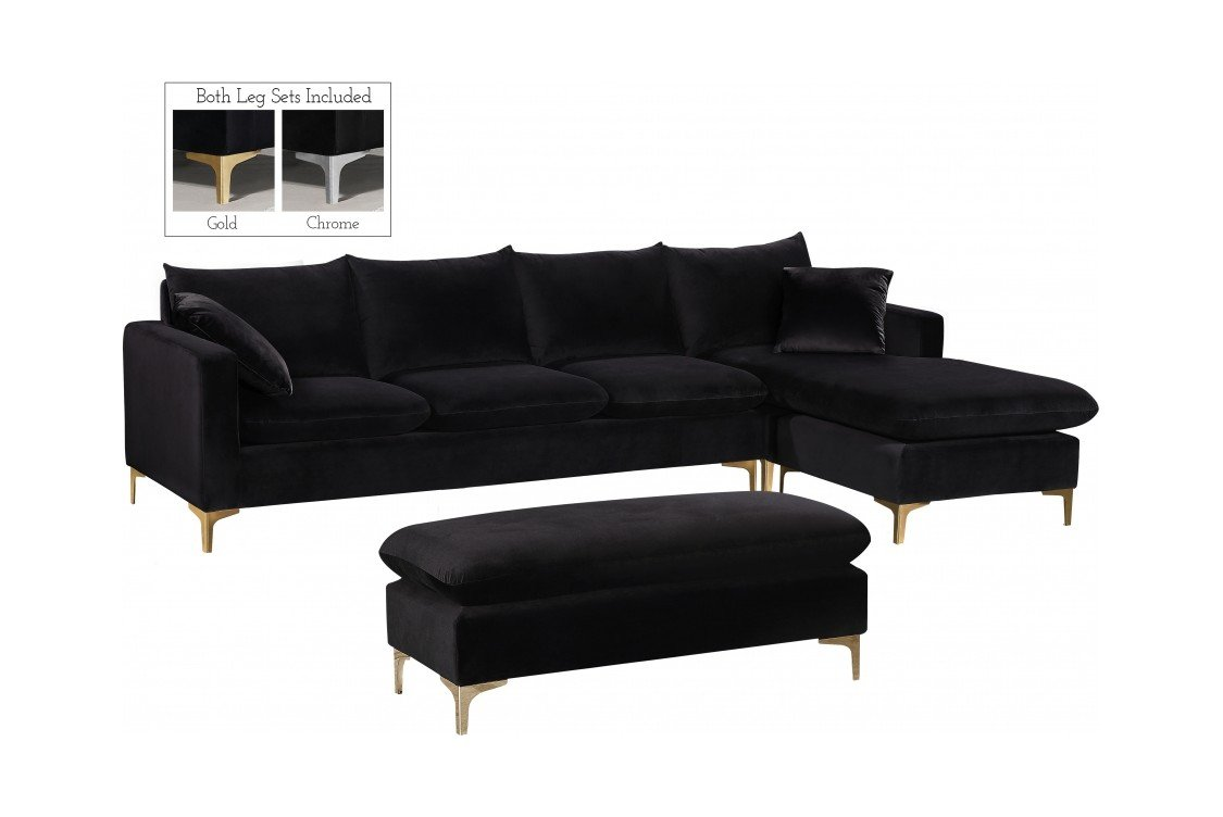 Naomi Black Velvet Two Piece Sectional Sofa By Meridian Furniture