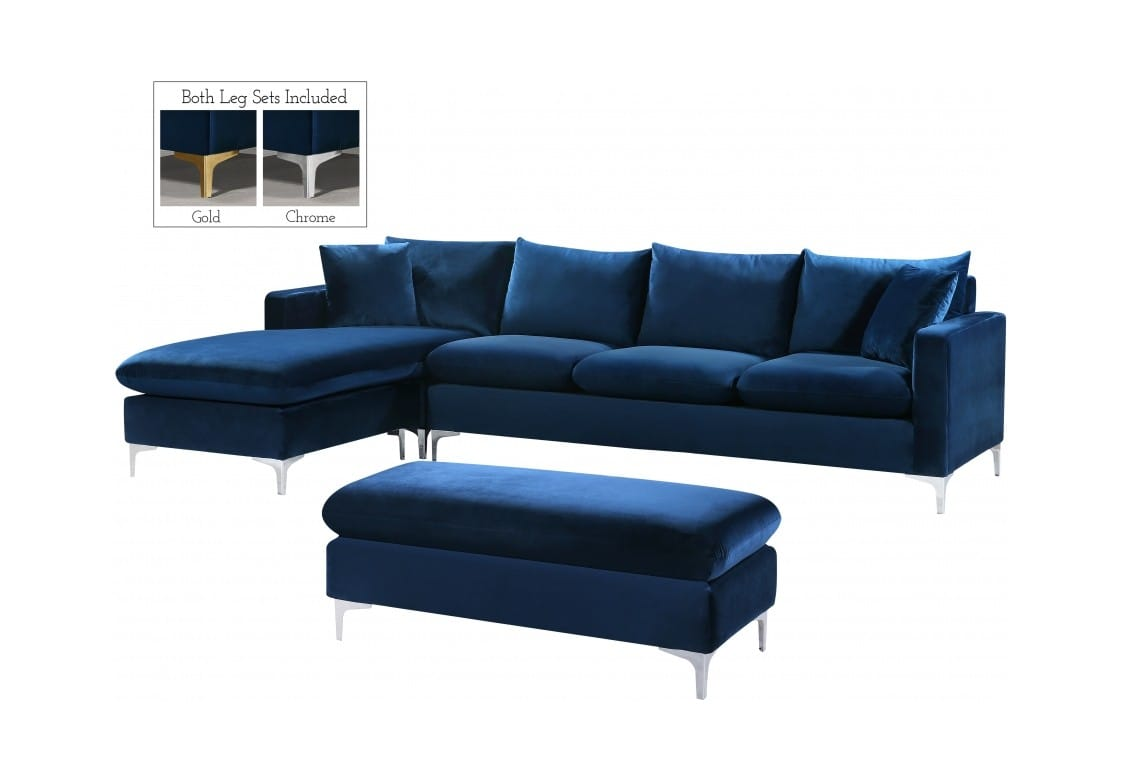 Naomi Navy Blue Velvet Two Piece Sectional Sofa by Meridian Furniture