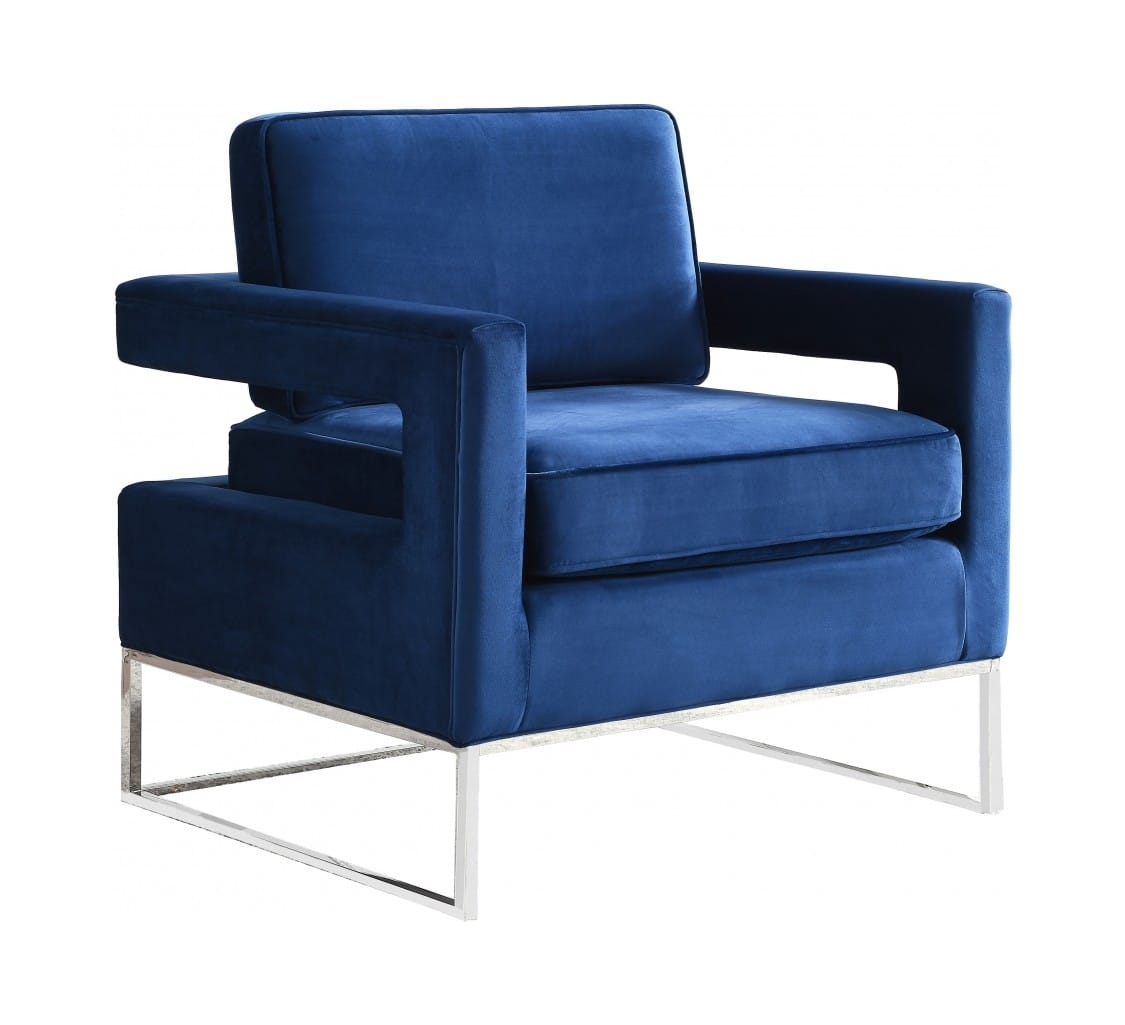 Fabulous Noah Navy Blue White Velvet Accent Chair By Meridian Furniture Andrewgaddart Wooden Chair Designs For Living Room Andrewgaddartcom