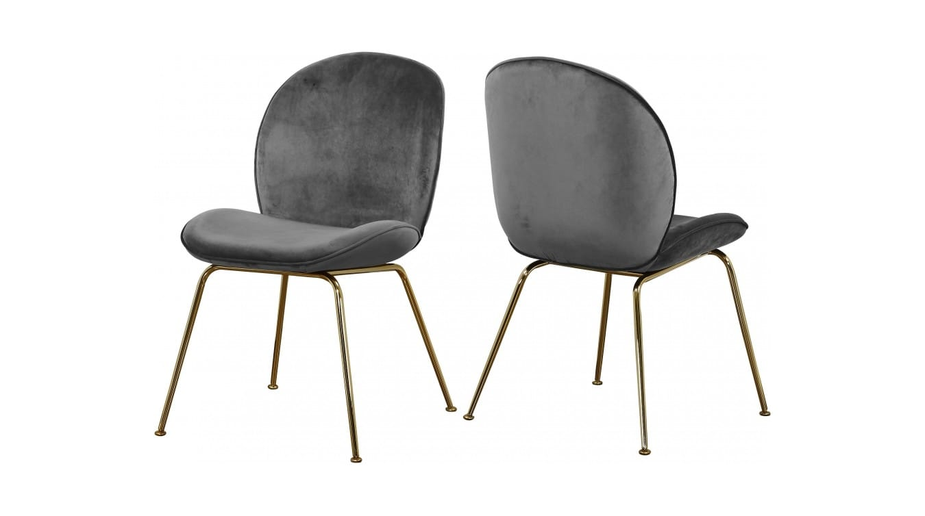 Paris Grey Gold Velvet Dining Chairs Set Of 2 By Meridian Furniture