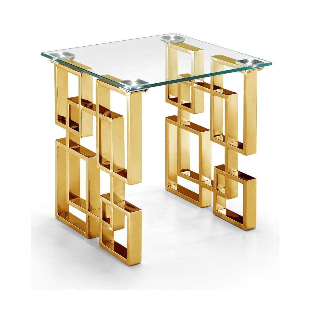 Pierre Gold Top Glass End Table By Meridian Furniture