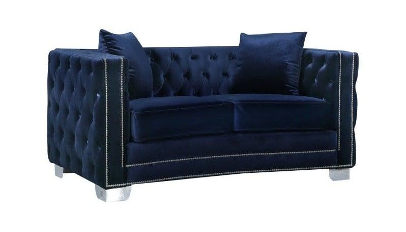 Reese Navy Blue Velvet Loveseat By Meridian Furniture