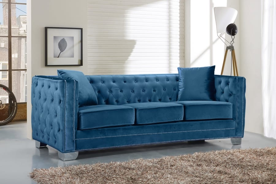 Reese Light Blue Velvet Sofa by Meridian Furniture