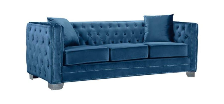 Reese Light Blue Velvet Sofa by Meridian Furniture
