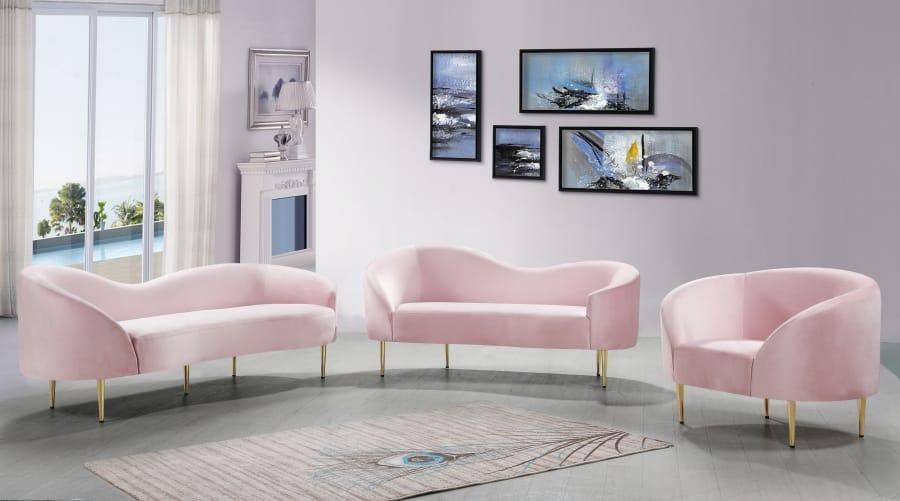 Ritz Pink Velvet Sofa by Meridian Furniture