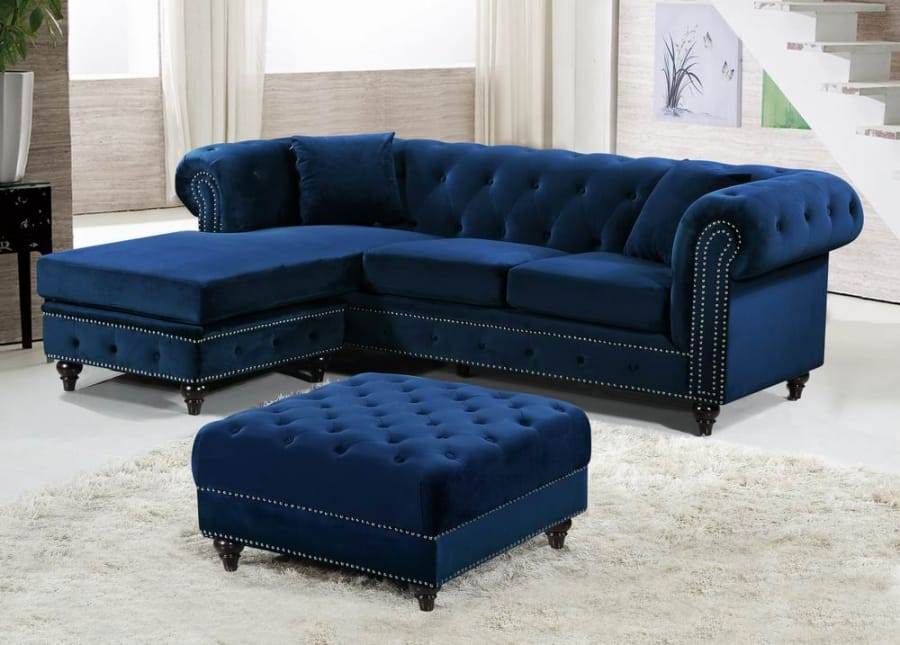 Sabrina Navy Blue Velvet Reversible Two Piece Sectional Sofa By Meridian Furniture