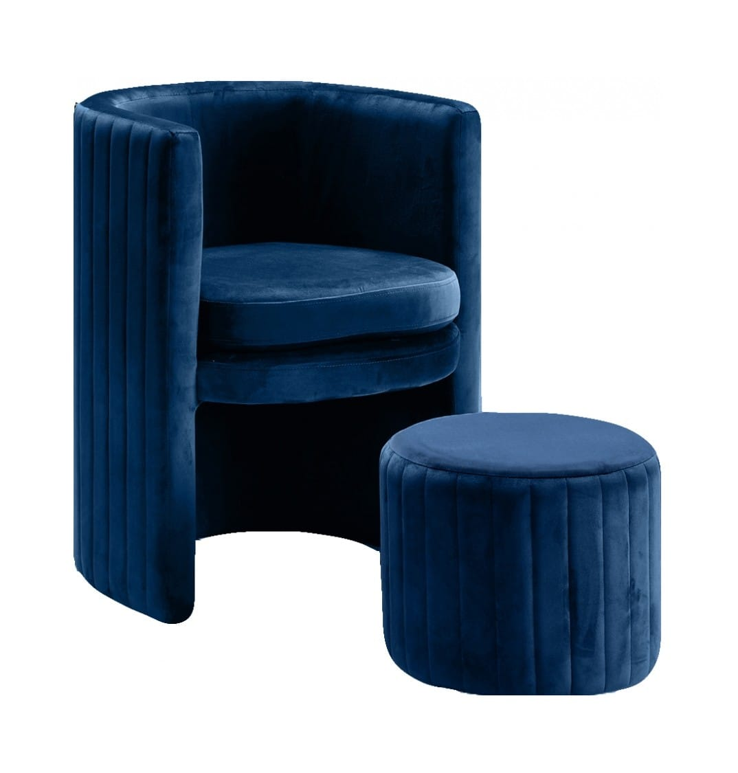 various colors 1444a 71323 Selena Navy Blue Velvet Accent Chair w/Ottoman by Meridian Furniture
