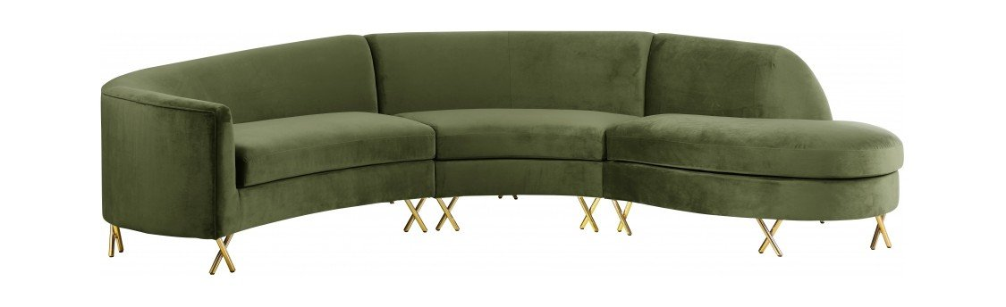 Serpentine Olive Velvet Three Piece Sectional Sofa By Meridian
