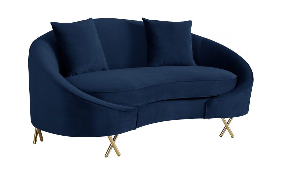 Enjoyable Serpentine Navy Blue Velvet Loveseat By Meridian Furniture Squirreltailoven Fun Painted Chair Ideas Images Squirreltailovenorg