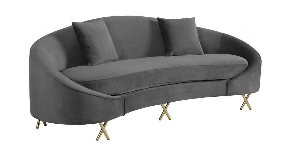 Serpentine Grey Velvet Sofa by Meridian Furniture