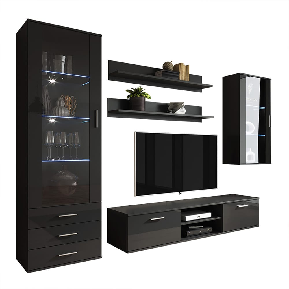Soho 6 Modern Wall Unit Entertainment Center By Meble Furniture