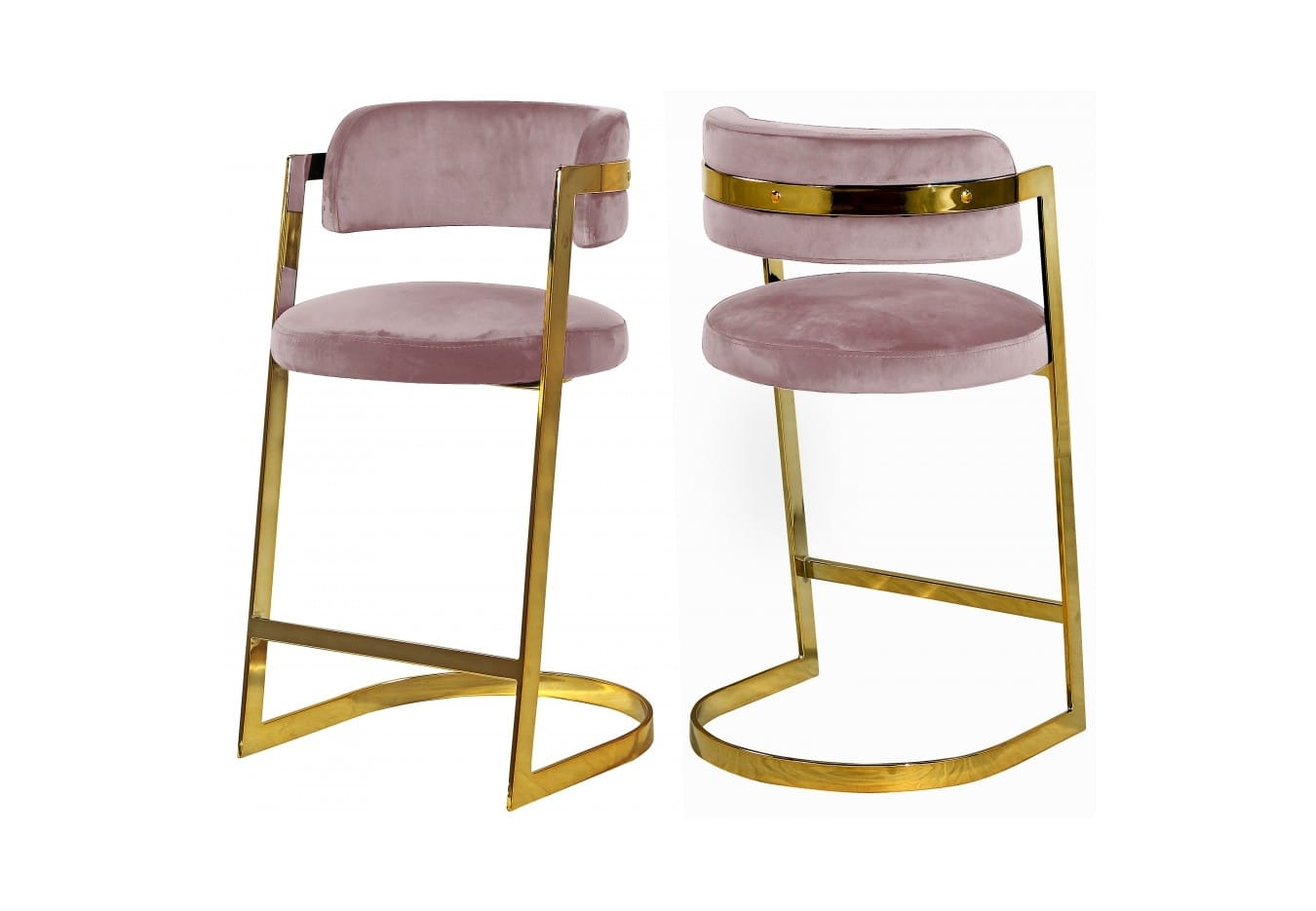 the best attitude 398e2 aa159 Stephanie Pink Velvet Counter Stool (Set of 2) by Meridian Furniture