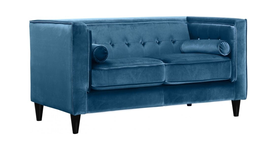 Pleasant Taylor Light Blue Velvet Loveseat By Meridian Furniture Squirreltailoven Fun Painted Chair Ideas Images Squirreltailovenorg