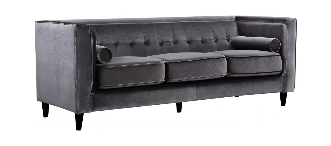 Taylor Grey Velvet Sofa by Meridian Furniture