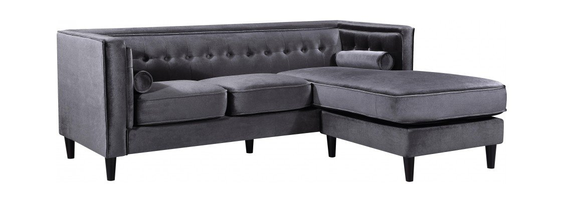 Outstanding Taylor Grey Velvet Two Piece Sectional Sofa By Meridian Furniture Download Free Architecture Designs Scobabritishbridgeorg