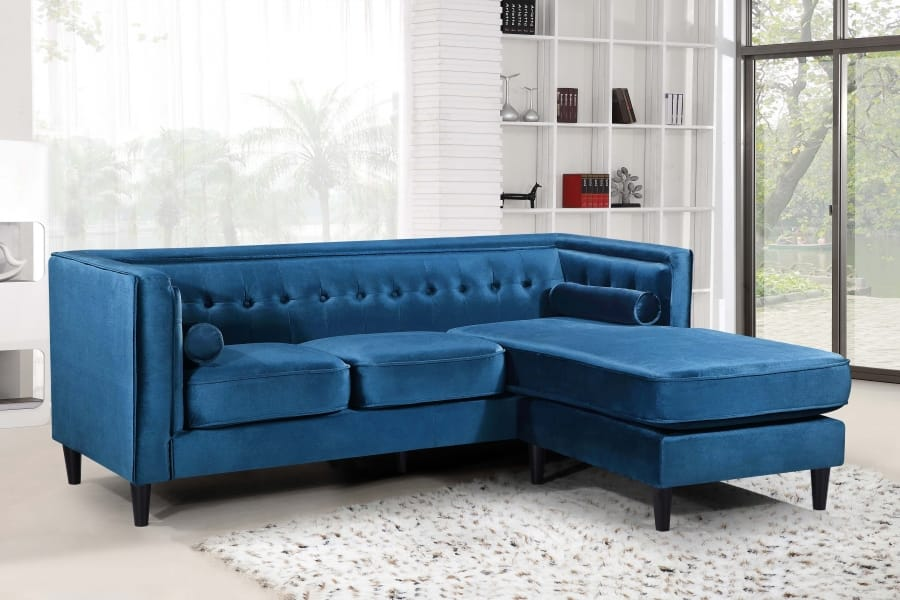 Taylor Light Blue Velvet Two Piece Sectional Sofa by Meridian Furniture