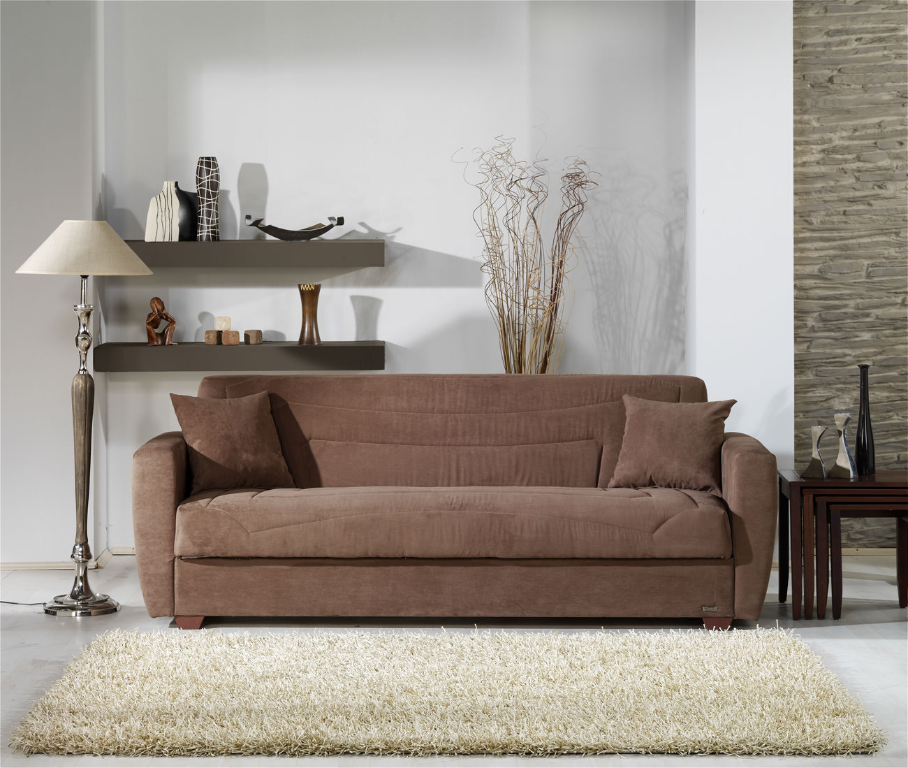 Miami Obsession Truffle Convertible Sofa Bed By Sunset