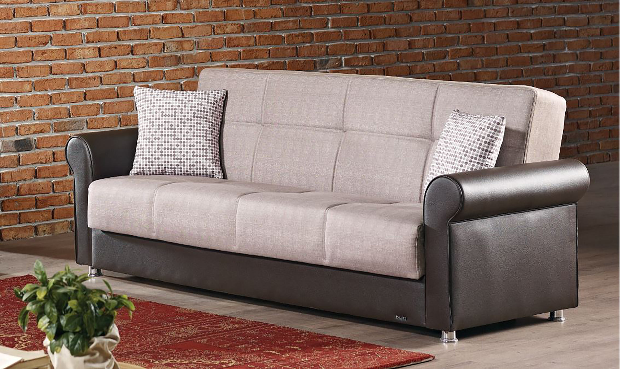 Michigan light brown fabric sofa bed by empire furniture usa for Divan furniture usa