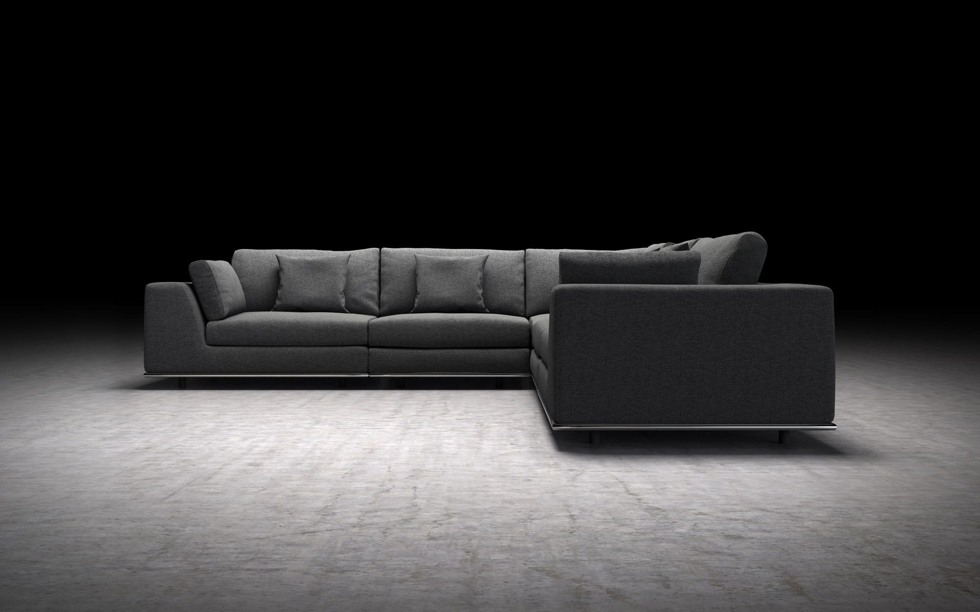 Perry 2 Arm Corner Sectional Sofa Shadow Gray