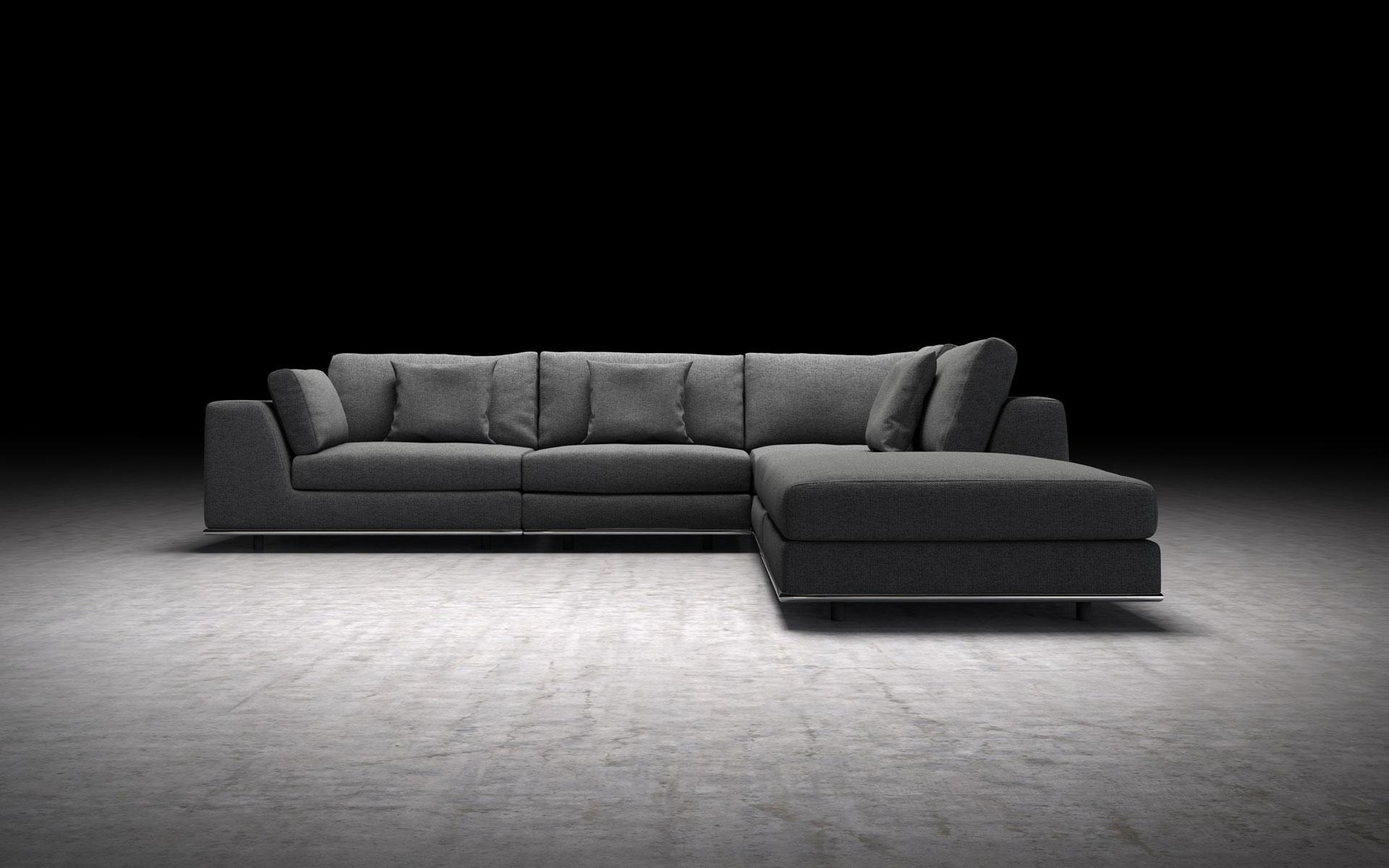 Perry 1 Arm Corner Sectional Sofa Shadow Gray by Modloft