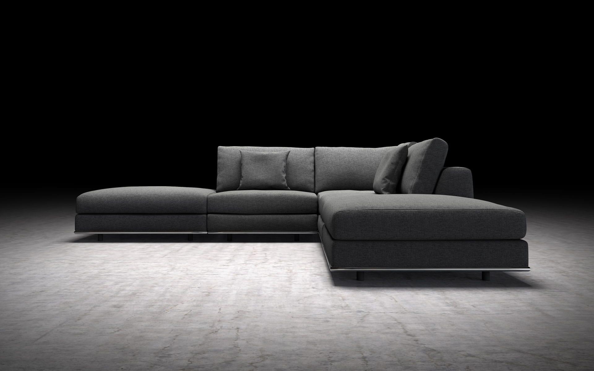 Perry Armless Corner Sectional Sofa Shadow Gray