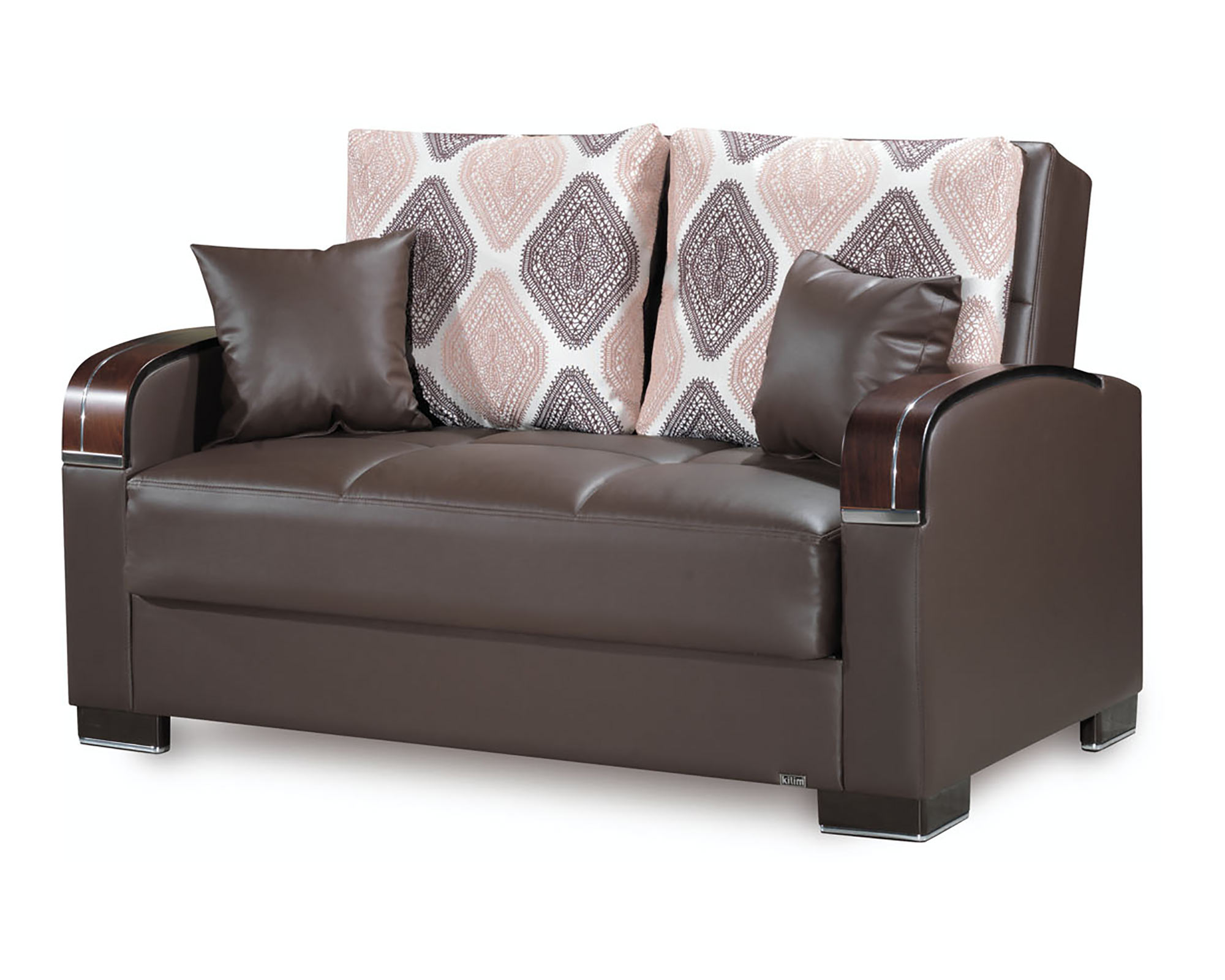 Mobimax Brown PU Leather Convertible Loveseat by Casamode