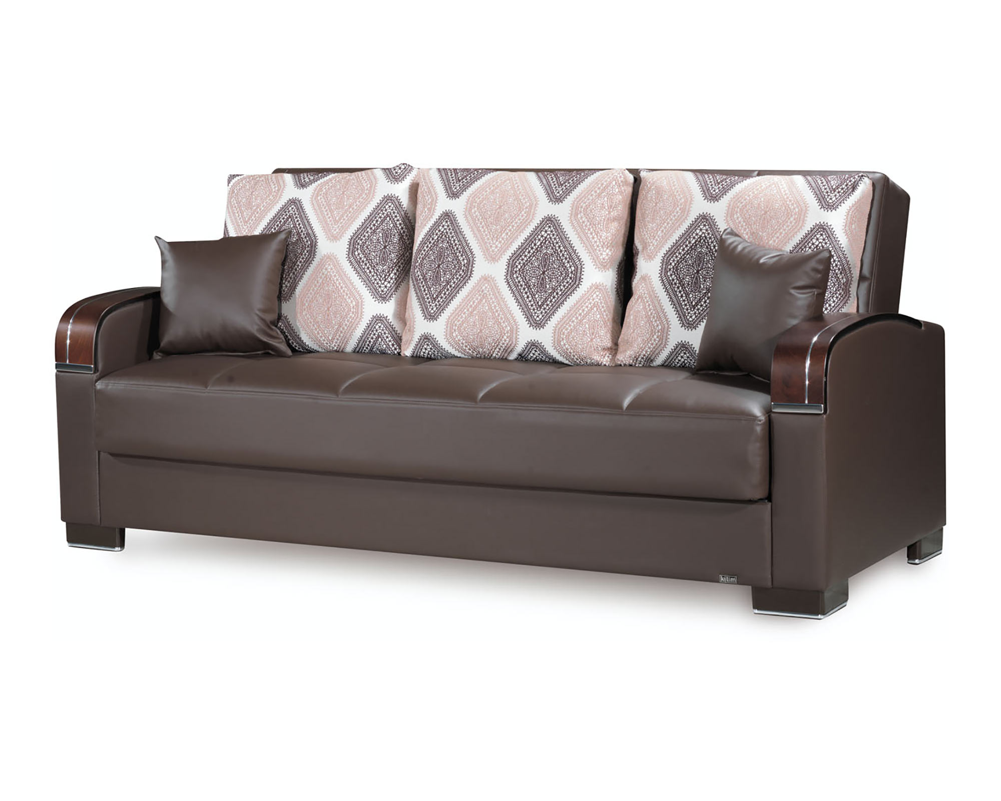 Mobimax Brown PU Leather Convertible Sofa by Casamode