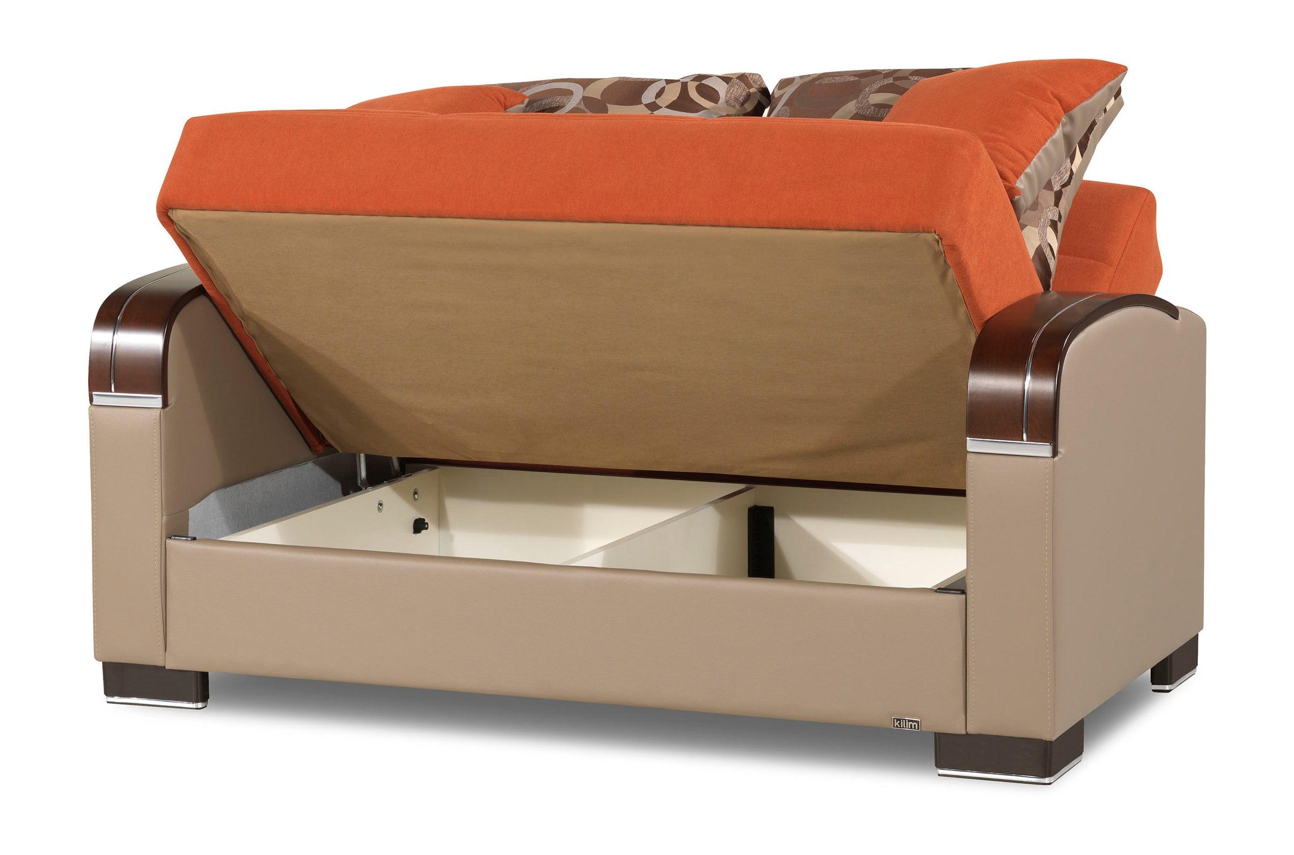 Amazing Mobimax Orange Loveseat By Casamode Inzonedesignstudio Interior Chair Design Inzonedesignstudiocom