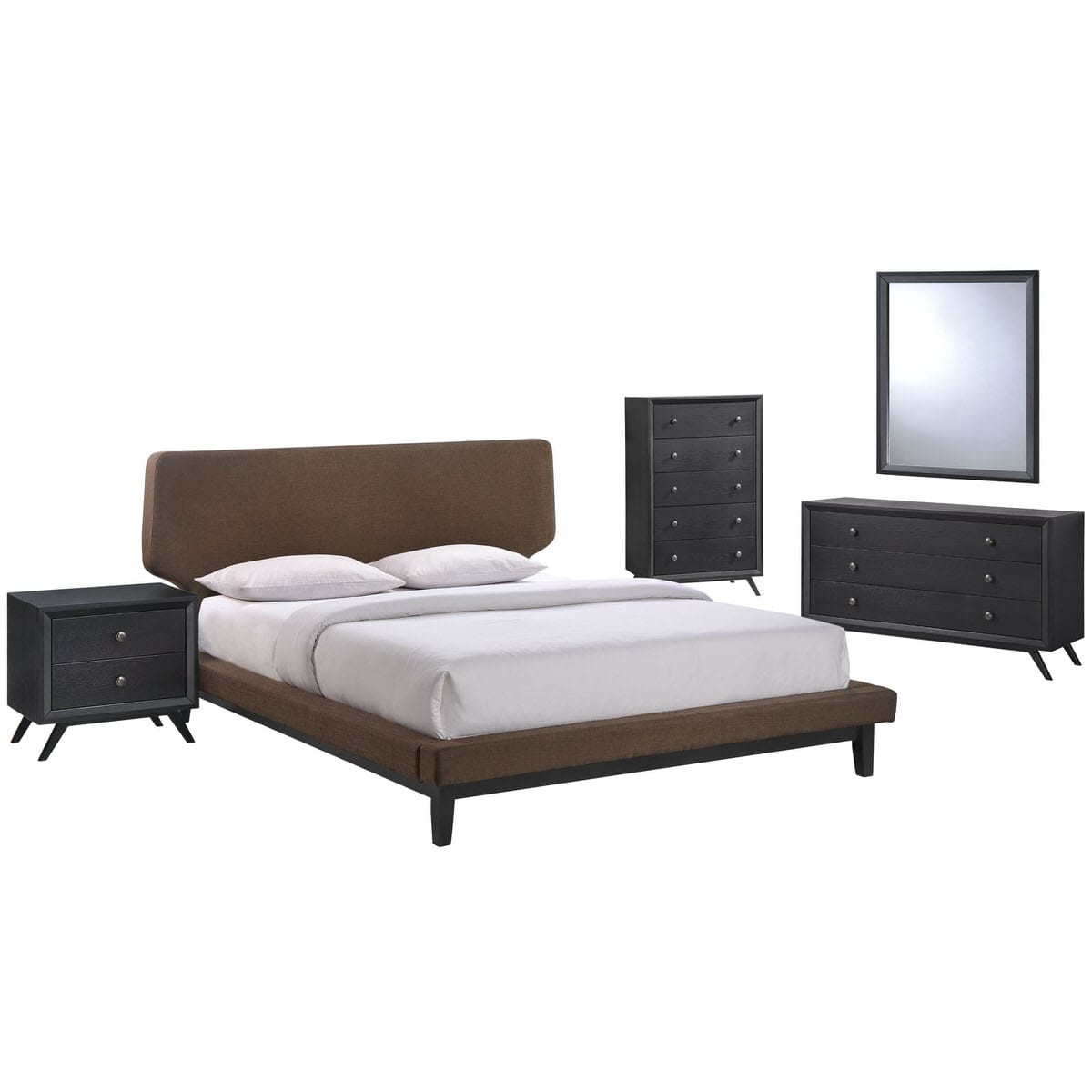 Bethany 5 Piece Queen Bedroom Set Black Brown 1 By Modern Living