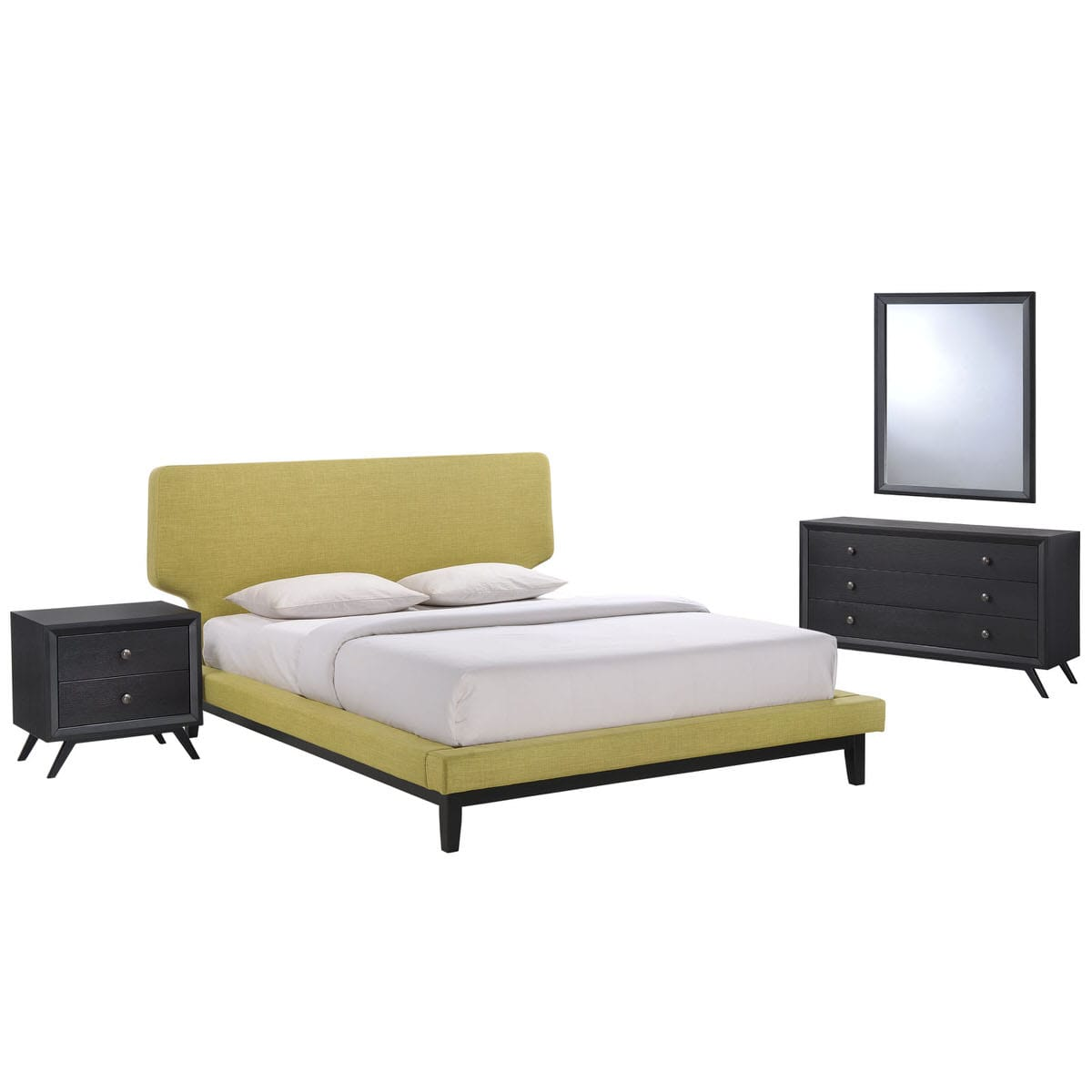 Bethany 4 Piece Queen Bedroom Set Black Green by Modern Living