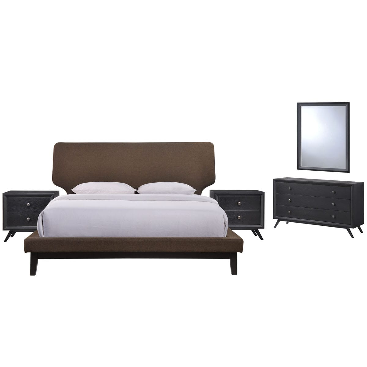 Bethany 5 Piece Queen Bedroom Set Black Brown by Modern Living