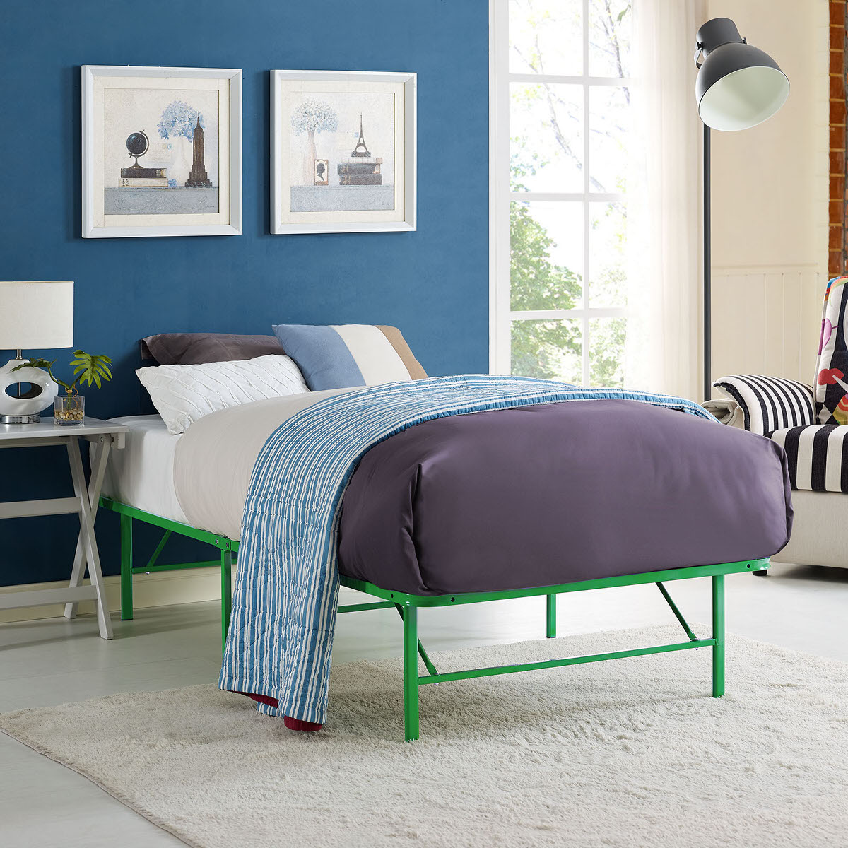 Horizon Twin Stainless Steel Bed Frame Green by Modern Living