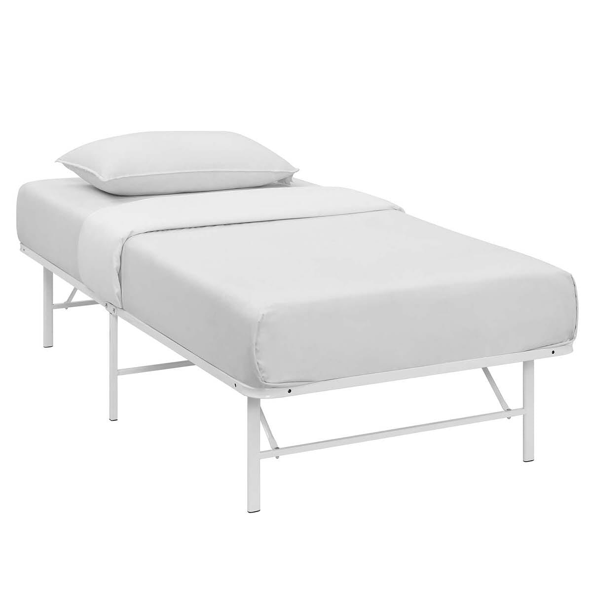 32bb12f04ad4 Horizon Twin Stainless Steel Bed Frame White by Modern Living