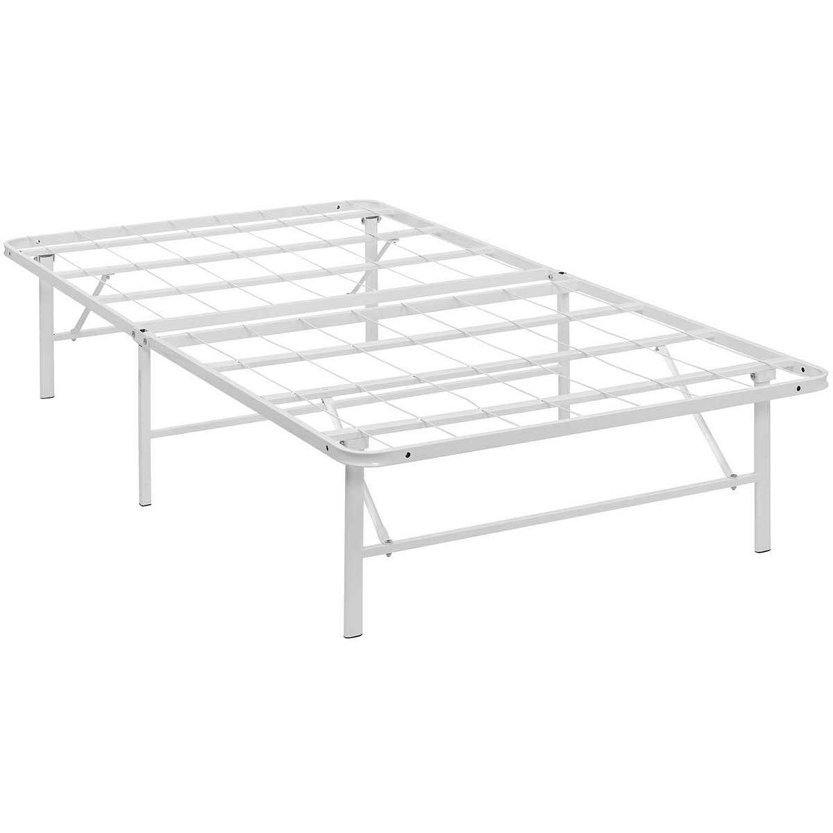 Horizon Twin Stainless Steel Bed Frame White by Modern Living