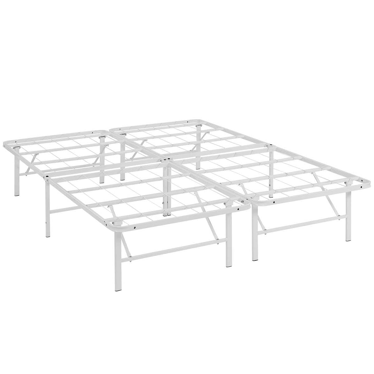 Horizon Queen Stainless Steel Bed Frame White by Modern Living