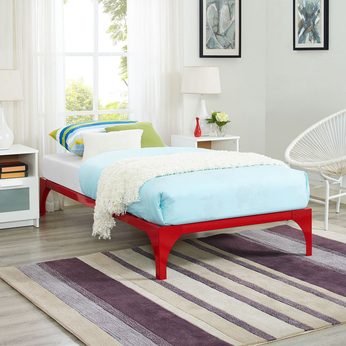 Ollie Twin Bed Frame Red by Modway