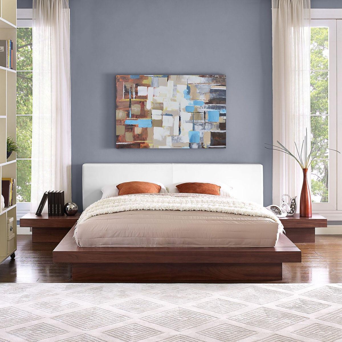walnut bedroom set.  Freja 3 Piece Queen Vinyl Bedroom Set Walnut White by Modway