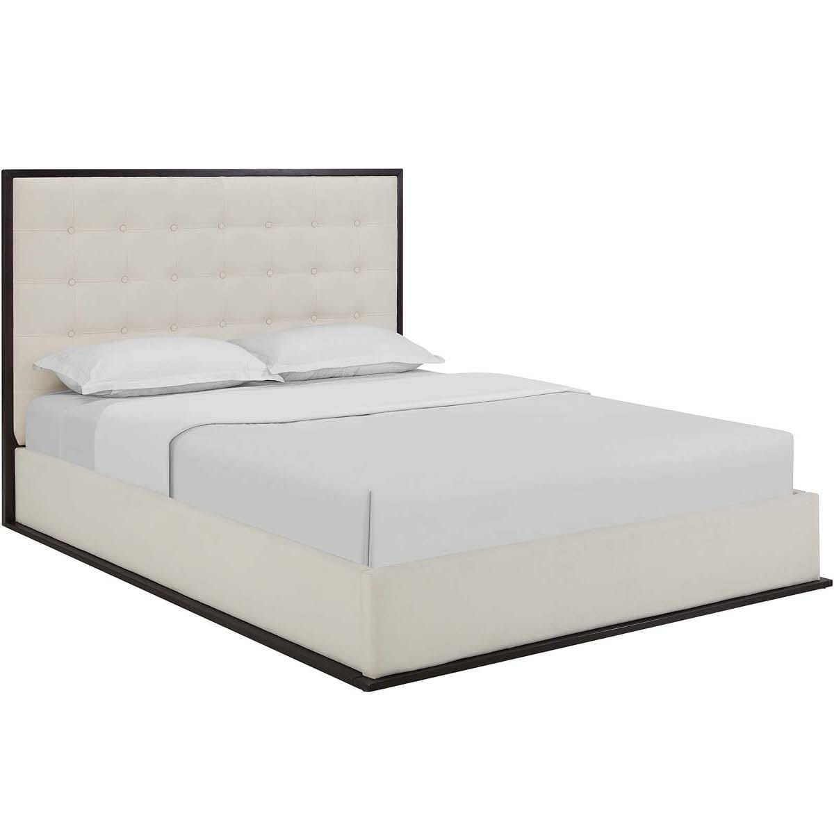 Madeline Queen Upholstered Bed Frame Cappuccino Ivory By Modern Living